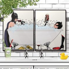 Batman and Catwoman in the bath Poster set. Bathroom Restroom Poster Wall Art Hanging Print Home Décor Humour Bathroom Posters, Bathroom Prints, Bathroom Wall Art, Bathroom Humor, Gato Batman, Batman Et Catwoman, Gotham Batman, Batman Comics, Wall Art Sets
