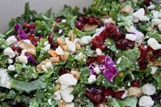 Fall inspired low FODMAP salad with kale, shredded red cabbage, and more! Dive in!