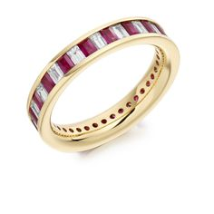 Stunning ruby and diamond eternity ring. This beautiful ring is made of Emerald cut rubies and emerald cut diamonds and is set 18 caret yellow gold. Full Eternity Ring, Eternity Ring Diamond, Emerald Cut Diamonds, Diamond Cuts, Diamond Jewelry, Gold Jewelry, Jewellery, Beautiful Rings, Wedding Bands