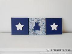 Triptyque 20x20 tissu Liberty Adelajda bleu Etoile et Ourson décoration chambre enfant bébé
