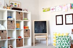 House tour of Nicole Shiffler. Handmade details. Play area and toy storage.