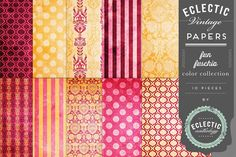 """This 10 piece pack of papers are printable at 8.5"""" x 11"""" at 300 ppi. This lovely Fun Fuschia color collection features a variety of textured dot, stripe and damask patterns in hot pink, orange and gol"""