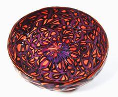 violet and orange handblown murrine glass bowl on etsy