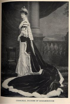 """Consuelo Vanderbilt in Worth Court Gown for the coronation of King Edward VII in 1902.  From the book """"A Century of Fashion"""" by Jean-Philippe Worth, 1928."""