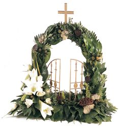 Religious and spiritual floral attributes, wreaths and funeral flower … – Ch … – Wreaths – Wreaths Church Flowers, Funeral Flowers, Funeral Floral Arrangements, Flower Arrangements, Altar, Funeral Sprays, Cross Wreath, Funeral Tributes, Memorial Flowers