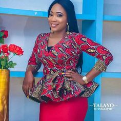 Hello Diva we present you latest peplum Ankara skirt and blouse for every occassion. Peplum ankara skirt and African Wear Dresses, Latest African Fashion Dresses, African Attire, African Blouses, African Tops, African Style, Ankara Peplum Tops, Ankara Dress, Ankara Tops Blouses