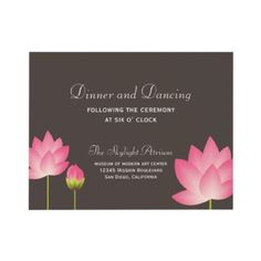 Pink lotus flower gray wedding reception enclosure invites $2.10 per invite (when ordered in bulk prices start at 1.05 - bulk = an order of at least 10 invitations) #Indian #weddings #asian #customized #announcements