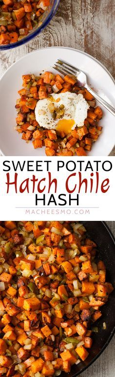 Sweet Potato Hatch Chile Hash: Spicy and sweet never looked so good together. Caramelized sweet potatoes with spicy roasted Hatch chiles with a perfect egg on top. Perfect fall breakfast!   http://macheesmo.com