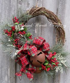 Christmas Wreath, Holiday Wreath, Sleigh Bells, Country Christmas, Woodland Holiday, Jingle Bell Door Wreath on Etsy, $181.47 CAD