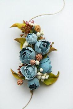 Rustic headband Flower headband Dusty blue flower crown Woodland wedding crown headpiece Boho headband Rustic flower crown