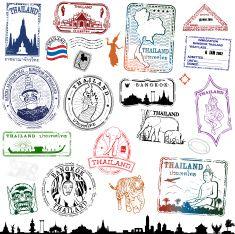 Thailand Travel Stamps vector art illustration