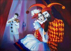 commedia dell'arte par les grands peintres - Pierrot - Colombine et arlequin -Elena Alexandrovna Martens