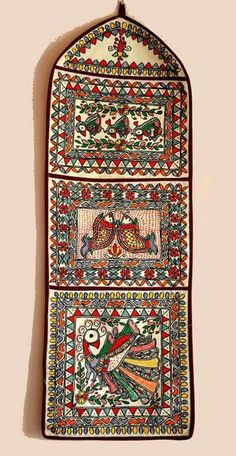 Madhubani wall pockets freehand painted without using stencil 2