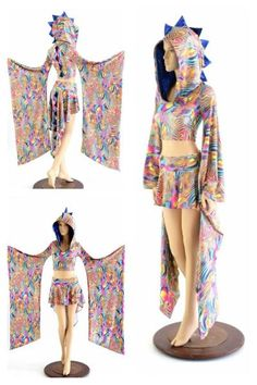 This 2PC set includes the crop top and the dragon tail skirt.The kimono sleeve crop is made of tropical swirl print spandex, with a big roomy hood and dragon sp