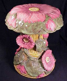 John and Rico's Zsolnay Ceramics: from The Drawing Room of Newport Rhode Island Antiques; # 4471: a lotus ware majolica garden seat designed by Julia Zsolnay from the Zsolnay Factory of Pecs Hungary