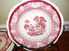 Antique Transferware Watteau Red Plates Enoch Woods by Nicholettes, $27.00