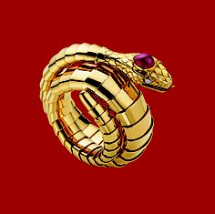 Bulgari gold, ruby, and diamond snake bracelet, 1950. See more from the Bulgari Serpenti Collection: http://www.assouline.com/bulgari-serpenti-collection.html