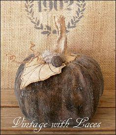 Recycled Fabric Pumpkin - just beautiful!!!  ~~~via vintagewithlaces....  #falljunkersunited