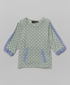 Another great find on #zulily! Green & Blue Polka Dot Top - Girls by Feathers USA #zulilyfinds