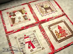 Holiday Stitches  - red mini - sada 4 ks