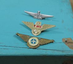 Trio of Airline Junior Pilot Pins TWA by 13thStreetEmporium