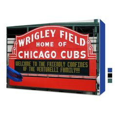 Personalized Wrigley Field Sign Canvas Chicago Cubs Print Wrigley Field Marquee, Wrigley Field Chicago, Chicago Cubs Fans, Cow Canvas, Canvas Wall Art, Canvas Prints, Basement Bar Designs, Cubbies, Stretcher Bars