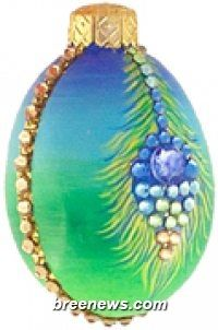 Miniature Egg, Peacock Feathers, Patricia Breen Designs, (Blue, Green, Easter, Spring)