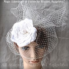 Veil Comb Fascinator Silk Rose Ivory Rhinestones by TianaCHE, $160.00
