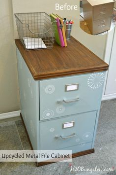 Use a thrift store cast off for this project. DIY tutorial for upcycled painted and stenciled filing cabinet makeover with stained wood top and bottom.