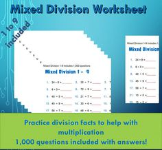 Division Facts Math Drill Worksheet Printable, Learning Maths / With Answers/ Numeracy Games Kids/ Printable/ 1000 questions Primary School Maths Paper, Math Drills, Printable Board Games, Numeracy, Worksheets For Kids, Math Games, Games For Kids, Division, Printables
