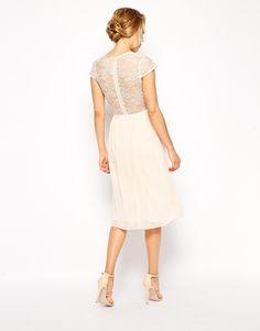 Image 2 ofASOS PETITE Scalloped Lace Midi Dress