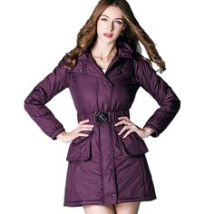 Luxury Brand Women Clothes 2016 Fall Winter Thicken Warm Outerwear New Fashion Style Hooded Slim Parkas Coat Free Belt CT234