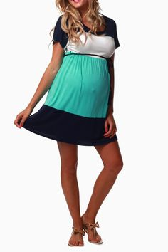 Mint Navy White Belted Maternity Dress...baby shower dress?