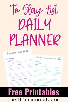Grab the free To Slay List Planner so you can organize and achieve your daily goals. It is a Planner and Calendar To Help You Organize Your Daily Schedule So You Can Achieve Your Daily Goals. Using the To Slay List Planner, you'll be able to have an accomplished day regardless of the obstacles! If you want more freedom from your schedule, this planner is for you. It has no time slots so you won't be stressed if you missed washing the dishes at 8:30 pm. #goalplanner #printables #goals #free Daily Goals, Daily Challenges, Goals Planner, Life Planner, Printable Planner, Free Printables, Personal Planners, Happy Minds, Color Quotes
