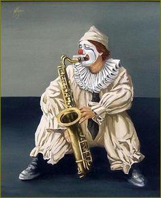 Clown by Natalia Tejera - Clown Painting - Clown Fine Art Prints and Posters for… Circus Art, Circus Clown, Image Cirque, Famous Clowns, Image Halloween, Clown Paintings, Pierrot Clown, Image Nature Fleurs, Es Der Clown