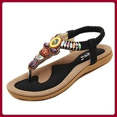6761e18a51b4ed Womail 2016 Fashion Summer Atificial Gem Flowers Beaded Vintage Flats  Bohemian Herringbone Clip Toe Sandals Beach Shoes Black 40   Learn more by  visiting ...