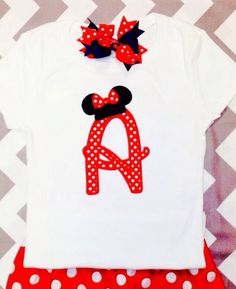 Minnie Mouse appliqué initial Disney shirt for girls  on Etsy, $24.00