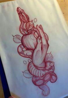Pretty Tattoos, Cute Tattoos, Leg Tattoos, Body Art Tattoos, Sleeve Tattoos, Tattoo Sketches, Tattoo Drawings, Apple Tattoo, Fruit Tattoo