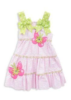 Rare Editions  Butterfly Seersucker Dress Girls 4-6x