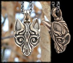 Bronze Viking WOLF Head Pendant Necklace Celtic Pagan Jewelry Jewellery Borre Scandinavia Iceland Fenrir Fenri