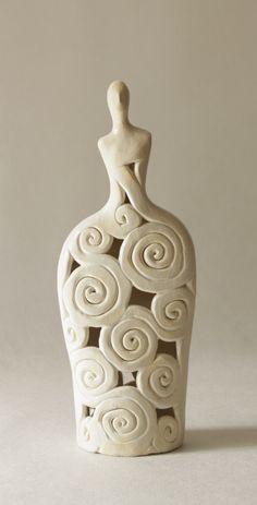 Openwork Ceramic Sculpture , Clay Sculpture , Handmade Sculpture , Ceramic Figurine , Clay Figure , Home Decor , Pottery , Ceramic Art , Candle Holder , Figura Ceramiczna , Rzeżba Ceramiczna