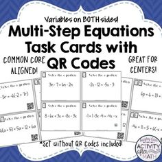Multi-Step Equations with Variables on Both... by Hayley Cain - Activity After Math | Teachers Pay Teachers