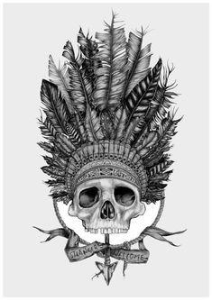 Indian skull tattoo design