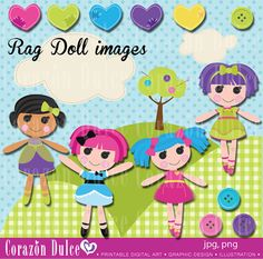Rag doll clipart set Personal and Commercial Use by corazondulce, $6.00