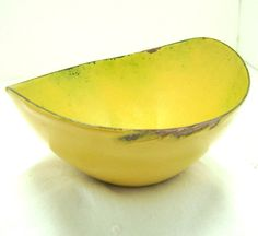 Vintage Bowl Mustard Yellow Enamel Chippy Dish on by boomerville
