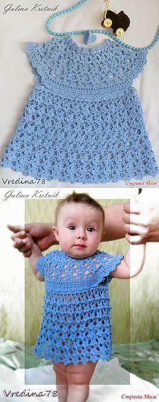 """Мини-платье для малышки """"275 синих цветочков"""""""