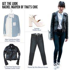Get the Look: Rachel Nguyen of That's Chic    Paige Hoxton Zip Ultra Skinny in Stream, $189,
