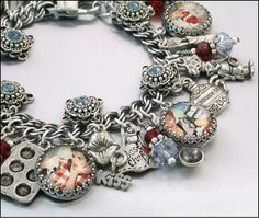Kiss the Cook Charm Bracelet Silver Charm by BlackberryDesigns, $87.00