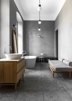 I could live in this bathroom. The daybed is an absolute beauty.