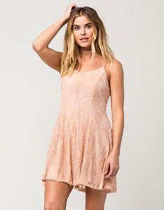 FULL TILT Lace Fit Flare Dress Pink